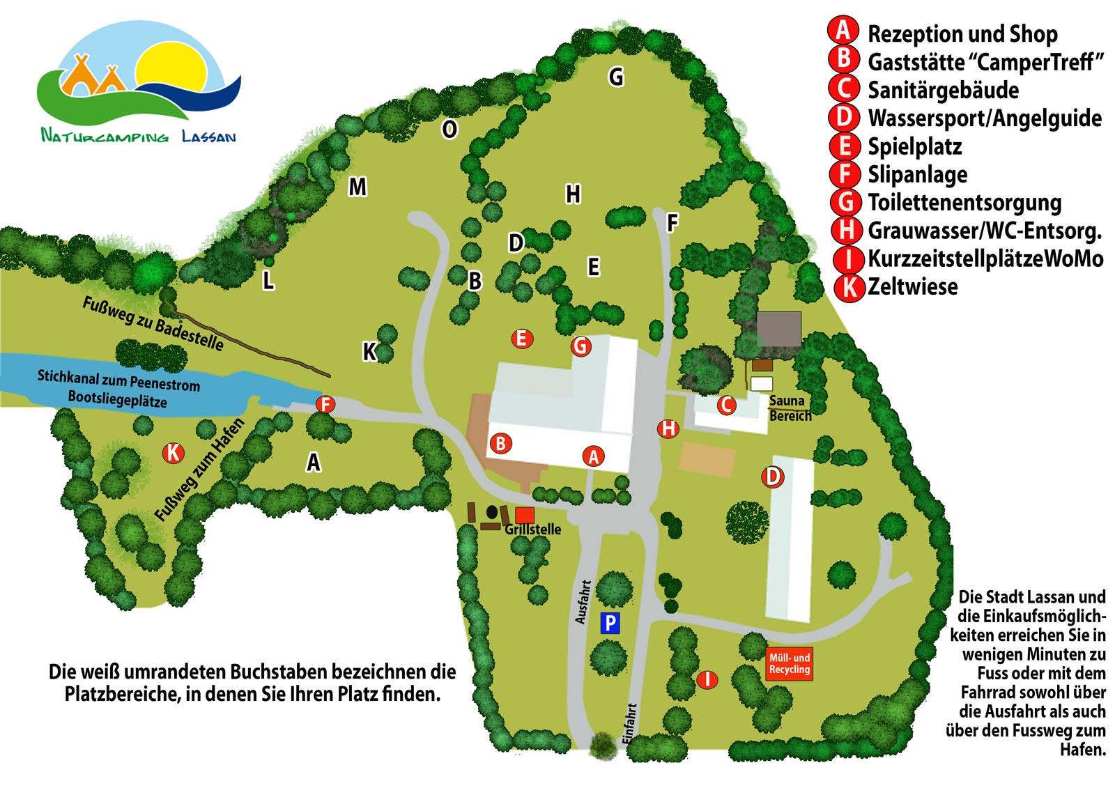 Naturcamping Lassan Platzplan